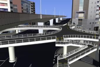 新設歩道橋(東口デッキ)モデル